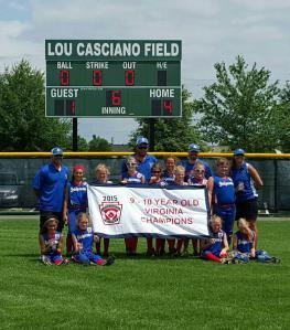 District 3 Bridgewater, 2015 Virginia State 9-10 Year-Old Softball Champions!