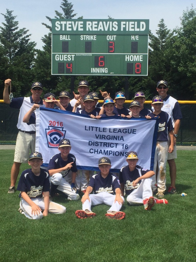 Central Loudoun Little League American, 2016 Virginia District 16 Little League Baseball Champions