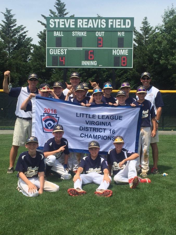 Central Loudoun Little League American, 2016 Virginia District 16 Little League Baseball Champions