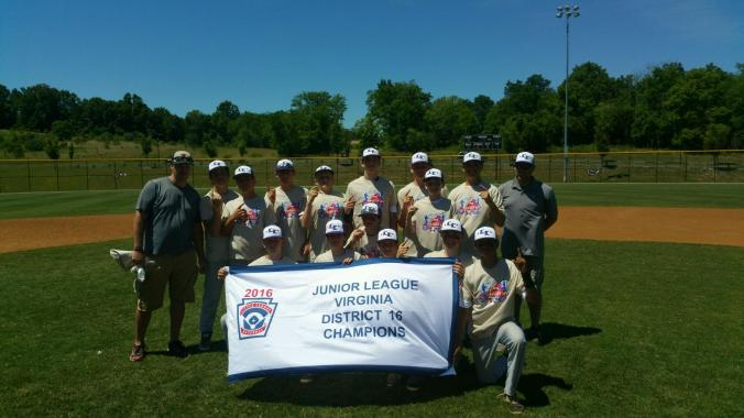 Lower Loudoun Little League, 2016 Virginia District 16 Junior League Baseball Champions